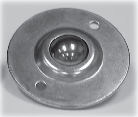 "Ball Transfer; 1""; Nylon Ball; Flange; Round (2-7/8"" diameter: two holes: 2-3/16"" apart); Carbon Steel housing; 75#; Load height: 5/8""; Recessed depth 5/8"" (88173)"
