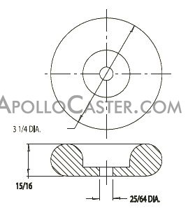"Caster Bumper; 3"" x 3\""; 1\"" Height; Rubber; Bolt Hole (1/4\"" Bolt not provided); Gray (88361)"