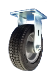 "Caster; Rigid; 8"" x 2-1/2""; Foam Filled Flat Free; Plate (4""x4-1/2""; holes: 2-5/8""x3-5/8"" slotted to 3x3); Prec BB; 275#; Premium Steel Hub (66536 is Swivel) (66534)"