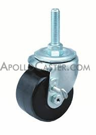 2 1 2 x 1 3 4 Swivel Caster with a Polyolefin wheel Threaded Stem connector and Plain bore