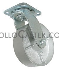 "Caster; Swivel; 6"" x 2\""; Cast Iron; Plate; 4-1/2\""x6-1/4\""; holes: 2-7/16\""x4-15/16\"" (slots to 3-3/8\""x5-1/4\""); 1/2\"" bolt; Zinc; Roller Brng; 1400# (68284)"