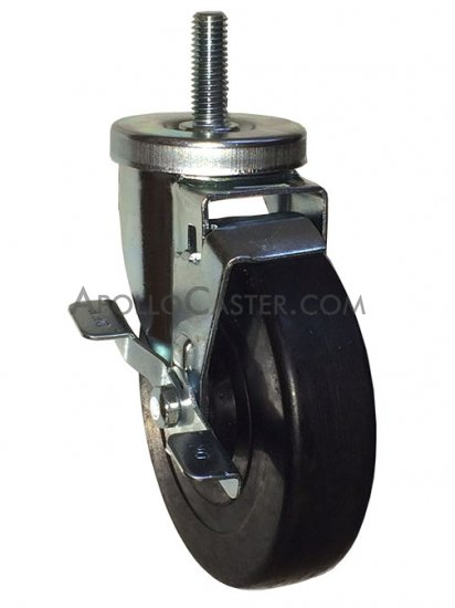 "13 x 1-1//2/"" Threaded Stem Swivel Caster and 3/"" x 1/"" Hard Rubber Wheel and 1//2/"""