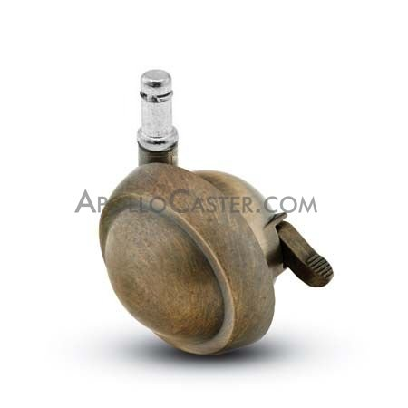 Caster; Ball; Swivel; 2-1/2; Metal/ Zinc; Grip Ring; 7/16x1-7/16; Antique; Acetyl/ Resin Brng; 100#; Pedal Lock; Wheel (68497)