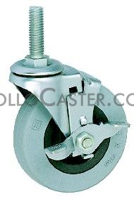 Caster; Swivel; 4 x 1-1/4; Thermoplastized Rubber (Gray); Threaded Stem (1/2-13TPI x 1); Zinc; Delrin Brng; 280#; Tread brake (66635)